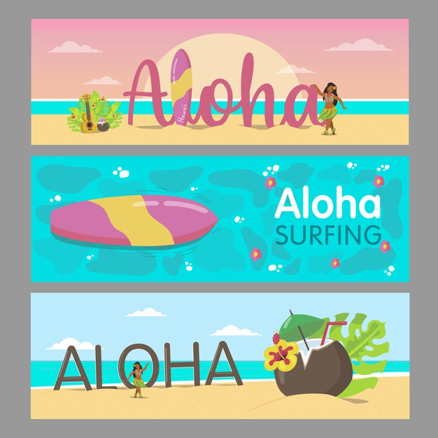 Aloha banners design for hawaiian resort. colorful lady dancing on beach and sea water. hawaii vacation and summer concept. template for promotional leaflet or brochure Free Vector